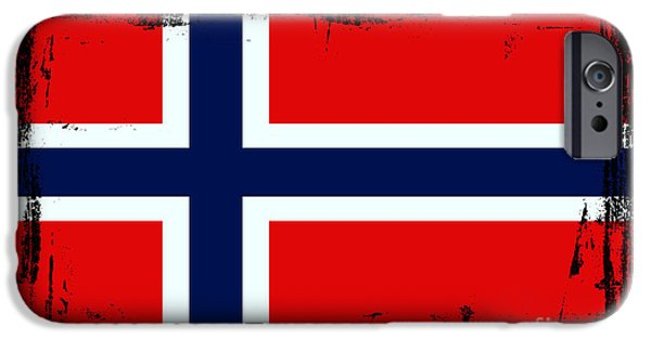 Norway iPhone Cases - Beautiful Norway Flag iPhone Case by Pamela Johnson