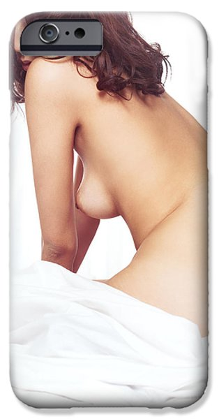 Figure iPhone Cases - Beautiful nude asian woman sitting on a bed iPhone Case by Oleksiy Maksymenko