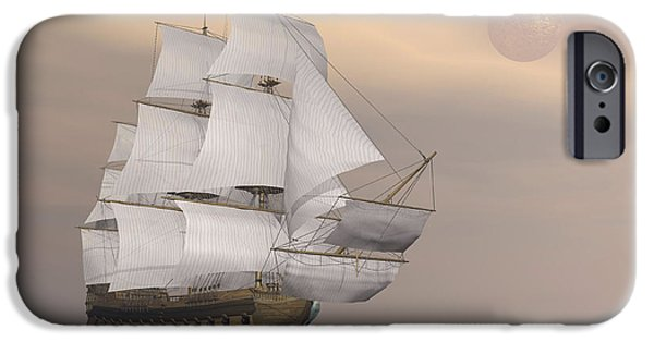 Pirate Ship iPhone Cases - Beautiful Old Merchant Ship Sailing iPhone Case by Elena Duvernay