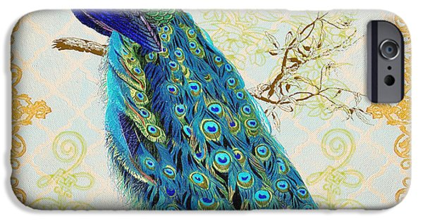 Filigree iPhone Cases - Beautiful Peacock-B iPhone Case by Jean Plout