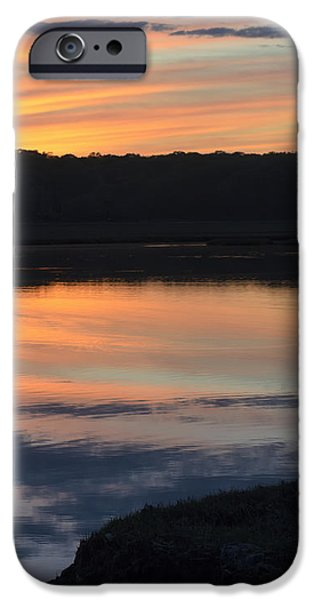 Salt Marsh. New England iPhone Cases - Beautiful pink and yellow sunset over a Connecticut salt marsh iPhone Case by Marianne Campolongo