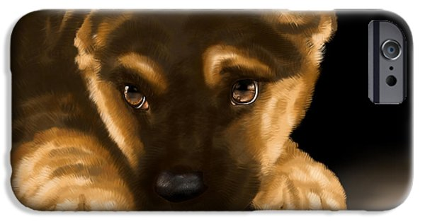Dogs Digital iPhone Cases - Beautiful puppy iPhone Case by Veronica Minozzi