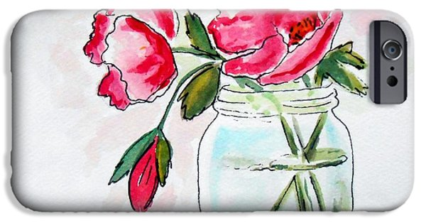 Water Jars Paintings iPhone Cases - Beautiful Roses in a Mason Jar iPhone Case by Rita Drolet