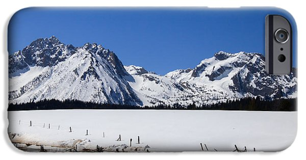 Haybale iPhone Cases - Beautiful Sawtooth Mountains iPhone Case by Robert Bales