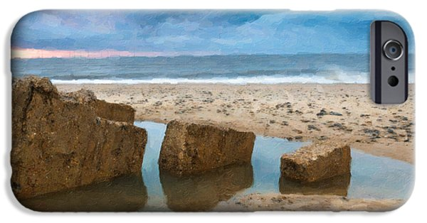 Alga Paintings iPhone Cases - Beautiful summer landscape on the sea iPhone Case by Lanjee Chee