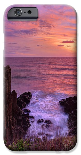 Turbulent Skies iPhone Cases - Beautiful sunrise highlights stunning volcanic sea cliffs iPhone Case by Leah-Anne Thompson