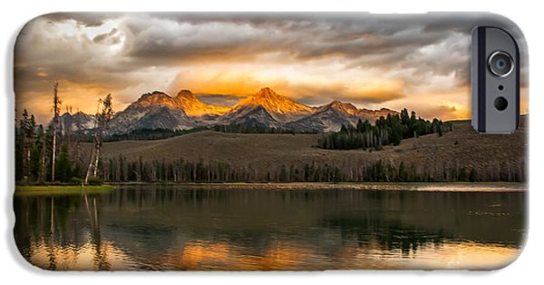 Haybale iPhone Cases - Beautiful Sunrise On Little Redfish Lake iPhone Case by Robert Bales