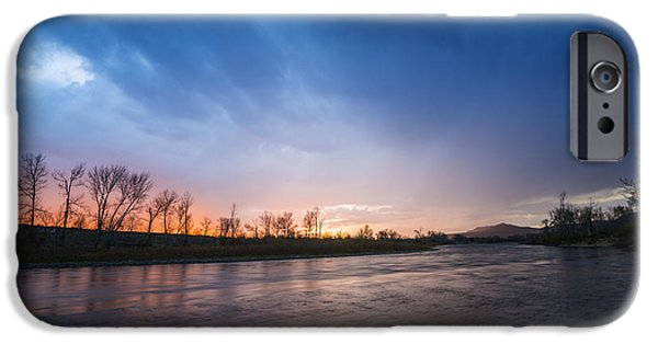 Reflections Of Sky In Water iPhone Cases - Beautiful sunset over Boise River in Boise idaho iPhone Case by Vishwanath Bhat