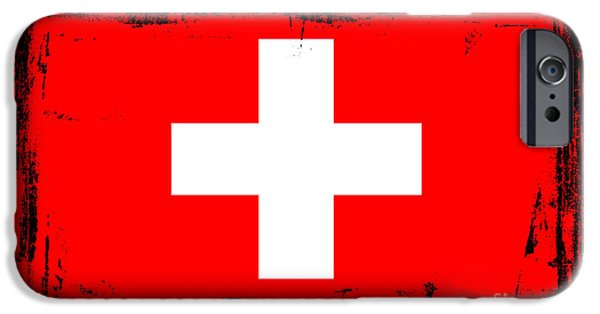 Swiss Mixed Media iPhone Cases - Beautiful Switzerland Flag iPhone Case by Pamela Johnson