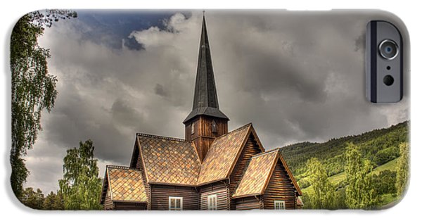 Headstones iPhone Cases - Beautiful Timber Church in Norway iPhone Case by Mountain Dreams