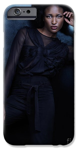 Big Hair iPhone Cases - Beautiful woman in black clothes high fashion photo iPhone Case by Oleksiy Maksymenko