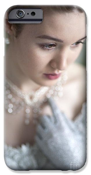 Glitter Glove iPhone Cases - Beautiful Woman In Historic Clothing iPhone Case by Lee Avison