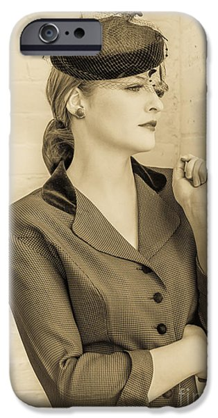 Beautiful woman in vintage forties clothing iPhone Case by Diane Diederich