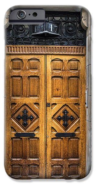 Wooden Door iPhone Cases - Beautiful Wooden Paris Door iPhone Case by Georgia Fowler