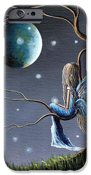 Night Angel Paintings iPhone Cases - Fairy Art Print - Original Artwork iPhone Case by Shawna Erback