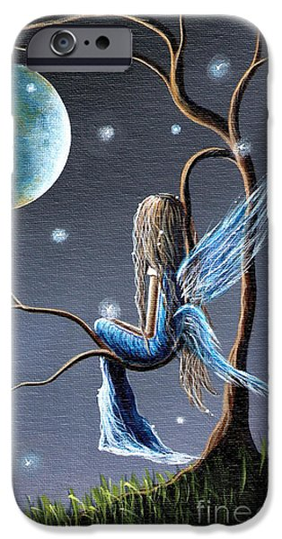 Angel Blues iPhone Cases - Fairy Art Print - Original Artwork iPhone Case by Shawna Erback