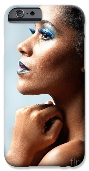 Bare Shoulder iPhone Cases - Beautiful Young Black Woman Looking Away iPhone Case by Joe Fox