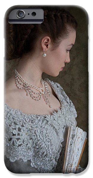 Glitter Glove iPhone Cases - Beautiful Young Victorian Woman iPhone Case by Lee Avison