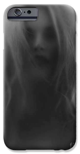 Gray Hair iPhone Cases - Beautiful young woman face behind hazy glass iPhone Case by Oleksiy Maksymenko