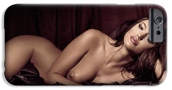 Seductive Photographs iPhone Cases - Beautiful Young Woman Lying Naked in Bed iPhone Case by Oleksiy Maksymenko