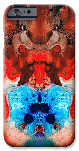 Science Mixed Media iPhone Cases - Beauty And The Beast - Abstract Art By Sharon Cummings iPhone Case by Sharon Cummings