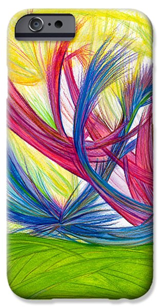 Power Lines Drawings iPhone Cases - Beauty gives Joy iPhone Case by Kelly K H B