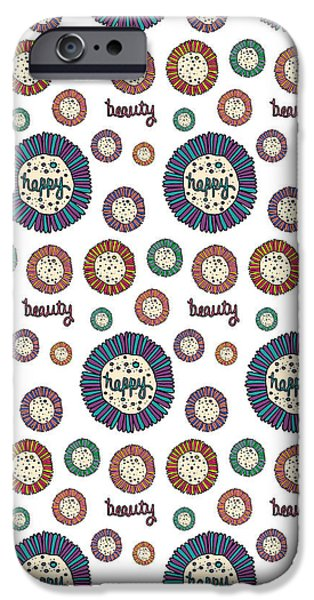 Shape iPhone Cases - Beauty Happy Repeat Print iPhone Case by Susan Claire