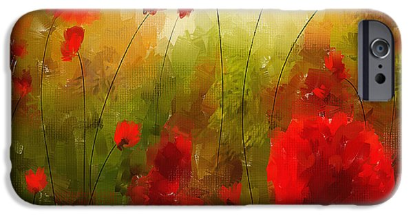 Red Abstract iPhone Cases - Beauty In Bloom iPhone Case by Lourry Legarde