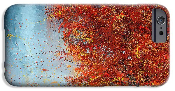 Pastoral iPhone Cases - Beauty Of It- Autumn Impressionism iPhone Case by Lourry Legarde