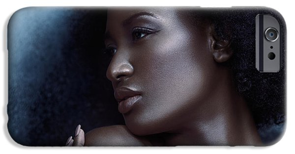 Big Hair iPhone Cases - Beauty portrait of beautiful black woman face with silvery skin iPhone Case by Oleksiy Maksymenko