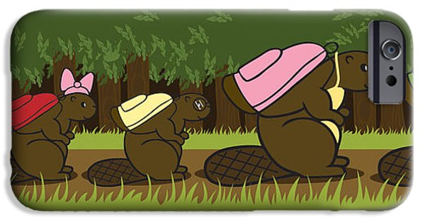 Beaver iPhone Cases - Beaver Family Walk iPhone Case by Christy Beckwith