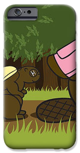 beaver family walk iPhone Case by Christy Beckwith