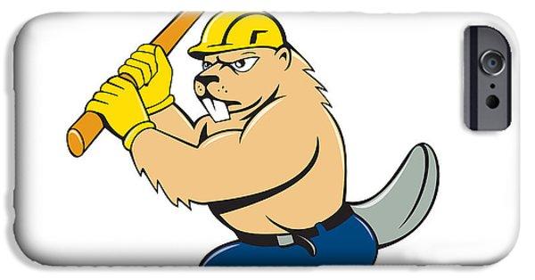 Beaver Digital iPhone Cases - Beaver Lumberjack Wielding Ax Cartoon iPhone Case by Aloysius Patrimonio