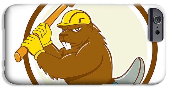 Beaver Digital iPhone Cases - Beaver Lumberjack Wielding Ax Circle Cartoon iPhone Case by Aloysius Patrimonio