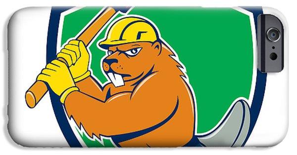 Beaver Digital iPhone Cases - Beaver Lumberjack Wielding Ax Shield Cartoon iPhone Case by Aloysius Patrimonio
