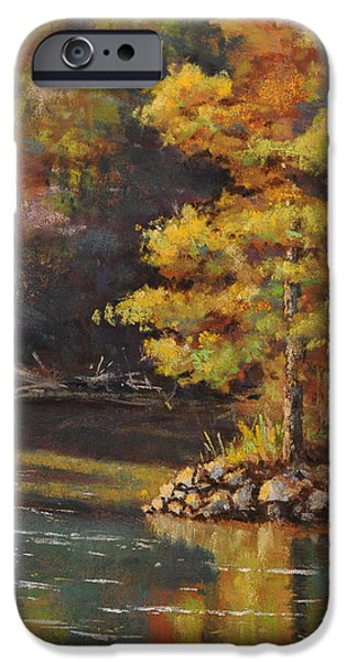 Autumn Landscape Pastels iPhone Cases - Beaver Spring iPhone Case by Cristine Sundquist