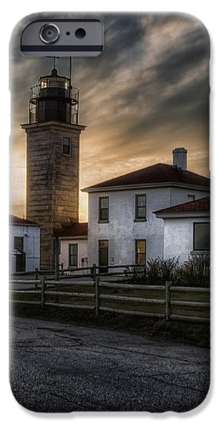 Beavertail Lighthouse Sunset iPhone Case by Joan Carroll