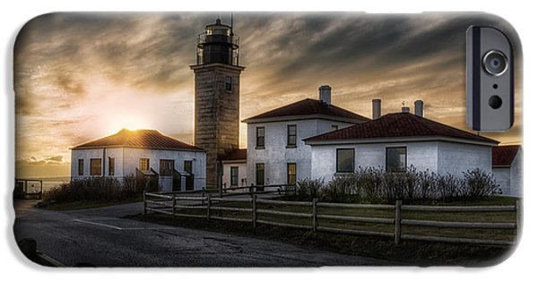 Coastal Places iPhone Cases - Beavertail Lighthouse Sunset iPhone Case by Joan Carroll