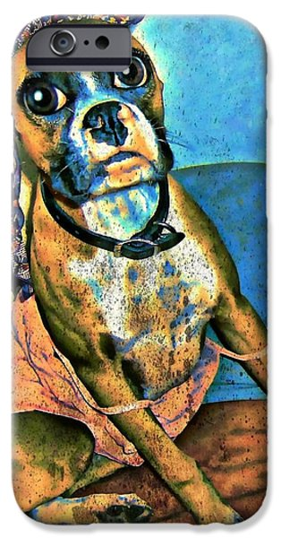 Boxer Digital Art iPhone Cases - BEB Boxer iPhone Case by Tisha McGee