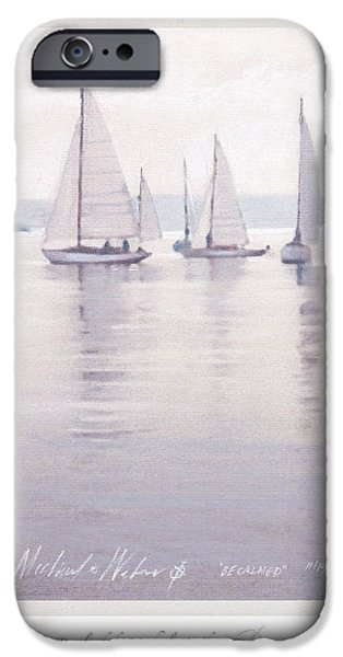 Sailboats Pastels iPhone Cases - Becalmed iPhone Case by Michael  Weber