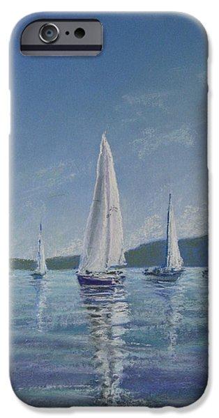 Sailboats Pastels iPhone Cases - Becalmed On Bellingham Bay iPhone Case by Pamela Heward