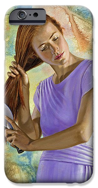 Figures Paintings iPhone Cases - Becca brushing her hair iPhone Case by Paul Krapf