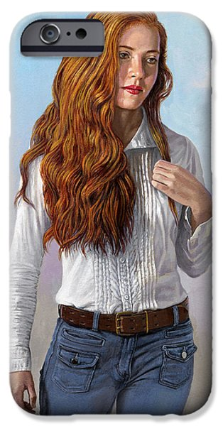 Figures iPhone Cases - Becca in Blouse and Jeans iPhone Case by Paul Krapf