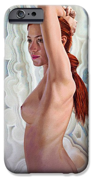 Figures Paintings iPhone Cases - Becca in Crazylace Stone iPhone Case by Paul Krapf