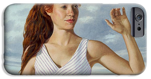 Figures iPhone Cases - Becca Waving iPhone Case by Paul Krapf