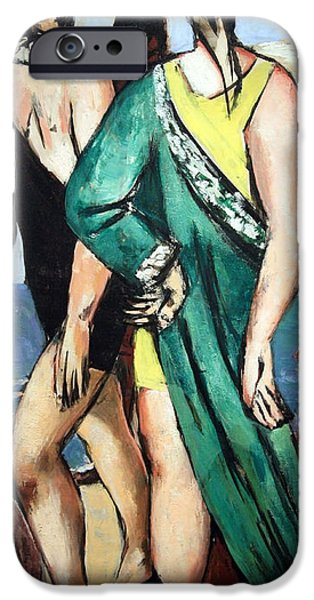 Cora Wandel iPhone Cases - Beckmans Bathing Scene -- The Green Cloak iPhone Case by Cora Wandel
