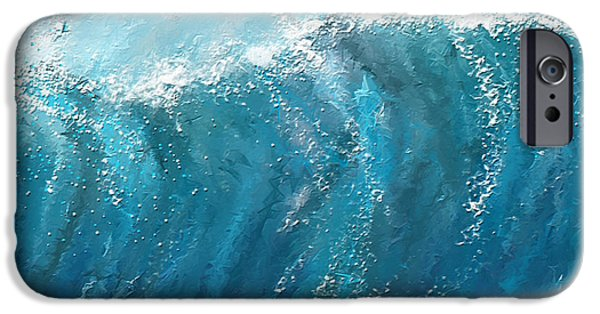 Big Waves iPhone Cases - Beckoning Heights- Surfing Art iPhone Case by Lourry Legarde