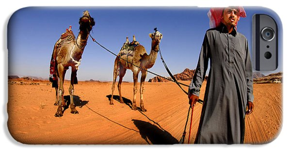 Jordan iPhone Cases - Bedouin and camels iPhone Case by Dan Yeger