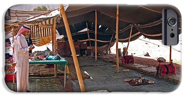 Jordan iPhone Cases - Bedouin by his Tent in Wadi Rum-Jordan iPhone Case by Ruth Hager