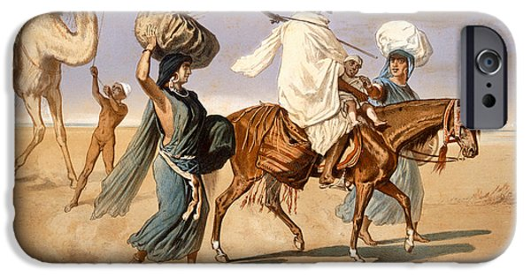Horse iPhone Cases - Bedouin family travels across the desert iPhone Case by Henri de Montaut
